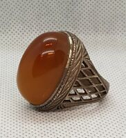 Soild Antique Silver Ring With Wonderful Yemani Natural Old Agate Stone