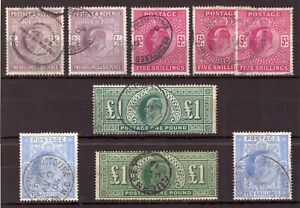 King Edward VII: High Values - Very Fine Used Selection - Both Printings (9).