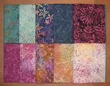 """ZANZIBAR BATIKS"" by Timeless Treasure Tonga, 10 Fat Quarters 100% Cotton Grp #1"