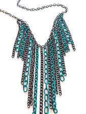 """16""""-20"""" Chain Drops Statement Necklace Teal Blue Green Gunmetal Extension"""