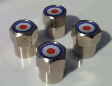 MOD TARGET ALUMINIUM TYRE VALVE CAPS ALLOY FOR CAR OR SCOOTER MOPED TIRE WHEEL