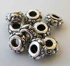 75pcs 3x6.5mm Metal Alloy Floral Rondelle Spacers - Antique Silver