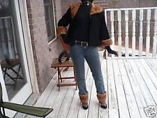 Cropped black broadtail & Mink fur coat jacket bolero