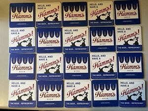 NEW 20 Hamm's Bear Beer Coasters Bar Glass Mat Coaster Sealed Pack Hamms