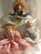 """Anne of Green Gables Miniature Porcelain Doll on Stand, 3 1/2"""", Set of three"""