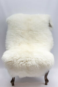 Genuine Sheepskin XL LARGE Very Wide 115-120cm / 70cm Creamy White Fur Rug.