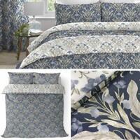 Navy Duvet Covers Floral Damask Vintage Reversible Blue Quilt Cover Bedding Sets