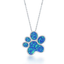 """Sterling Silver Created Blue Opal Paw Print Pendant with 18"""" Chain"""
