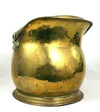 Antique Victorian Brass Coal Log Bucket Scuttle Helmet Shaped