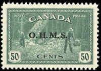 "Canada Mint H 1949-50  VF Scott #O9 Overprinted ""OHMS"" Logging Stamp"
