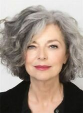 Salt and Pepper Hair Medium Length Wave Synthetic Gray Wigs