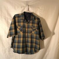 Arrow Mens Flannel Button Up Shirt Multicolor Tattersall Short Sleeve Vintage XL