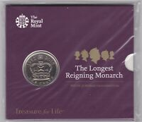 SEALED ROYAL MINT ISSUE 2015 LONGEST REIGNING MONARCH £5 COIN IN CARD PACK