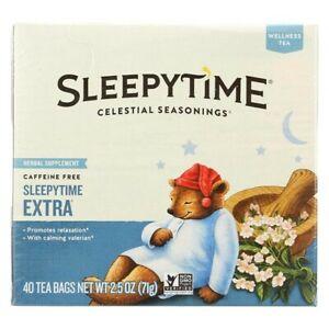 Celestial Seasonings Sleepy Time Extra Tea. Herbal Caffeine Free 40 Bags 2.5 oz.