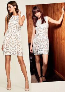 $419 Tadashi Shoji Ivory Nude Corded Crochet Lace Sleeveless Sheath Dress