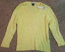 Taylor Marcs Pale Yellow, Long Sleeve, Cable Knit Sweater Sz. Large