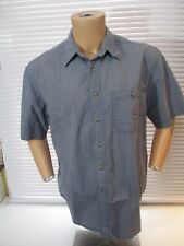 Fieldmaster blue check, short sleeve, button front cotton shirt, mens L