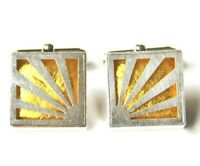 Victoria Varga Rising Sun Cuff Links Sterling Silver 925 & Golden Yellow Resin