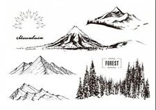 CLEAR STAMPS The snow capped mountains 1 DIY Scrapbook Card album paper craft
