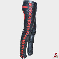 Men's Real Leather Bikers Pants Laces Up Contrast Leather Pants,Men's Fashion