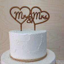 Mr & Mrs Wedding Cake Topper inside double Love Heart,  Rustic Wooden cake decor
