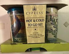 Cypress Home Hot & Cold Drinkware Peacock Insulated Tumbler & Latte Mug NIB