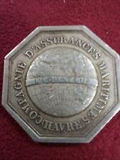 SPB JETON MEDAILLE en argent assurance maritime équateur du HAVRE 1860 N137