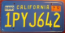 1992 CALIFORNIA CLASSIC ORANGE ON BLUE LICENSE PLATE AUTO TAG EXCELLENT PASS CAR