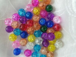 50pcs 10mm mixed crackle glass beads jewellery making findings
