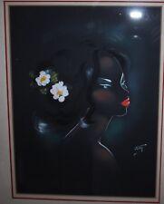 Mixed media oil gouache airbrush painting black asian polynesian woman profile