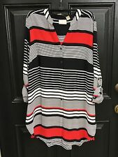 New $99 Chico's Stripe Transitions Black White Red Tunic Top 2 L 12 14 NWT 3 XL