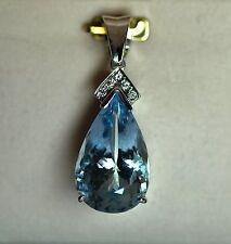 18 carat white gold natural Aquamarine and diamond pendant