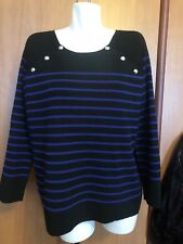 Ralph Lauren Women Top Sweater Plus Size 2XL XXL Black Blue Striped Cotton NWT