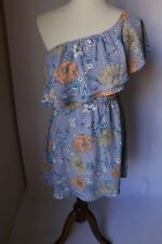 Lush Ruffle One Shoulder Light Blue Coral Floral Dress Size (XS) NWT