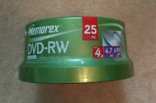 Memorex DVD-RW 4x 4.7GB 25 Pack 120 Min Rewritable Disc Spindle New - SHIPS FAST