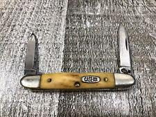 "Case XX USA V05263 SS Eisenhower Pocket Knife 3 1/8"" Genuine Stag Handles"