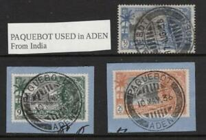 PAQUEBOT  Used in ADEN   Group of 3 Fine Used on Original Paper as shown INDIAN