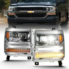 Anzo 111421 LED Projector Headlight Chrome w/Amber For 16-18 Silverado 1500 NEW