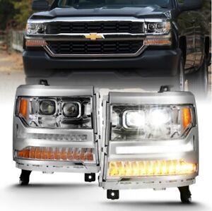 Anzo 111421 LED Projector Headlight Chrome w/Amber For 16-18 Silverado 1500 NEW