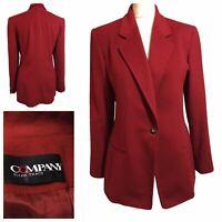 ELLEN TRACY Vtg 1990s Designer Womens UK 14 Tailored Blazer Jacket Red *** FLAWS