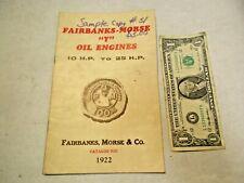 "replica 1922 Fairbanks-Morse ""Y"" Oil Engines 10 to 25 H.P Catalog 92G - NR"
