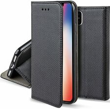 Moozy Case Flip Cover for iPhone X, iPhone XS, Black - Smart Magnetic Fl