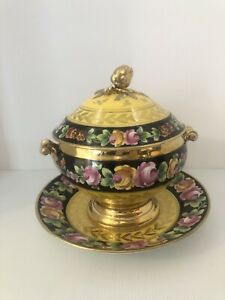 Antique Yellow Black And Floral Porcelain 3 Piece Tureen