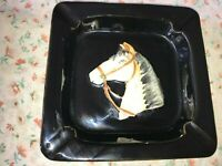 "VTG Square Ceramic Ashtray 3D Raised Horse White Black Equestrian 8.25"" x 1.5"""