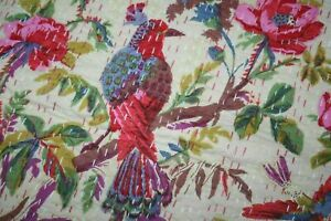 Indian Kantha Quilt Cotton Handmade Bedspreads Throw Blanket Twin Coverlet Decor