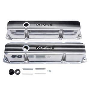 "Edelbrock 4276 Valve Cover Set; 3.620"" Polished Aluminum for Chrysler B/RB Mopar"