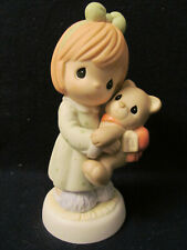 Nib Precious Moments # 790007 - Love Wrapped Up With A Bow~Girl Holding her Bear