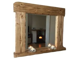 *Beautiful quality handmade rustic style wooden mirror with shelf*