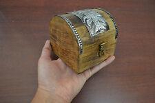 HANDMADE CARVED TREASURE CHEST JEWELRY TRINKET WOOD BOX