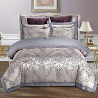 Luxury Jacquard Bedding Set King Queen Size Linen Silk Cotton Duvet Cover Sheet